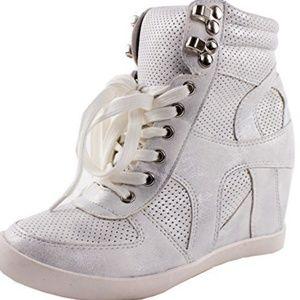 Top Moda Women's Lace High Top Fashion Sneakers 5